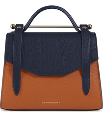 strathberry mini allegro colorblock calfskin leather tote - brown