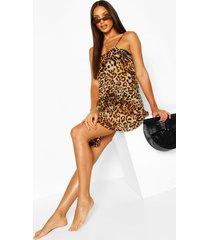 cami slipdress met luipaardprint voor het strand, bruin