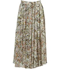 green and ivory floral mid skirt