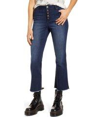 women's 1822 denim button front high waist crop flare jeans