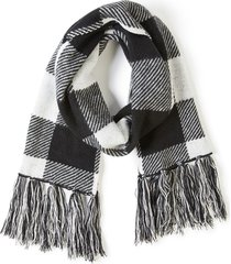 lane bryant women's buffalo plaid fringe scarf onesz black