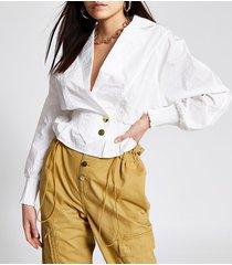 river island womens white shirred waist nylon shirt