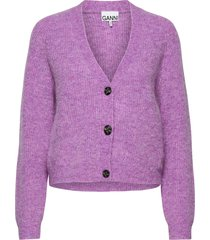 soft wool knit gebreide trui cardigan paars ganni