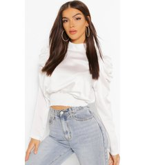 blouse met grote mouwen, wit