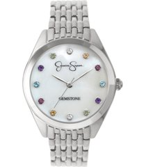 jessica simpson women's genuine gemstone silver tone bracelet watch 37mm