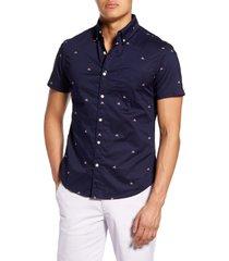 men's bonobos riviera slim fit shark fin short sleeve button-down shirt, size xx-large r - blue