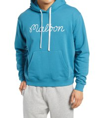 men's malbon golf men's bon logo embroidered hoodie, size small - blue/green