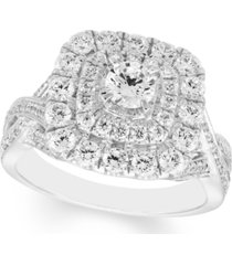 1 1/2 carat diamond double halo ring in 14k white gold