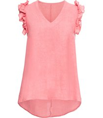 top in misto lino con ruches (rosa) - bodyflirt