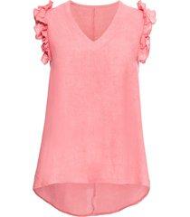 top in misto lino con ruches (rosa) - bodyflirt