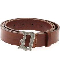 dondup branded buckle belt in brown