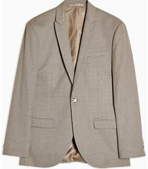 mens brown houndstooth slim single breasted suit blazer with peak lapels