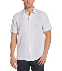 cubavera men's ombre geo embroidered panel shirt