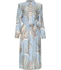 midi-jurk met schoudervullingen rye  blauw