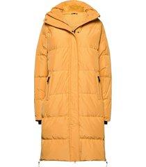 haugland down coat gevoerde lange jas geel skogstad