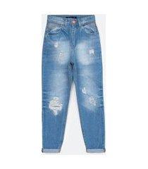 calça mom jeans com espelho do bolso vazado e puídos   blue steel   azul   38