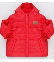 jaqueta infantil puffer com capuz e forro em fleece vermelha