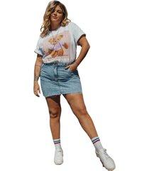 blusa in love t-shirt over teddy branca - branco - feminino - algodã£o - dafiti
