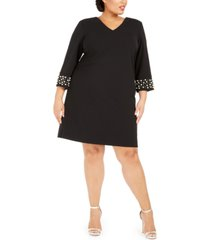 calvin klein plus size v-neck imitation pearl dress