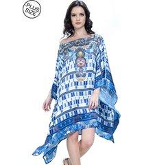 kaftan 101 resort wear vestido crepe ombro a ombro étnico azul