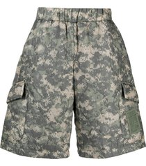 raeburn quilted camouflage-print shorts - grey