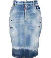 d squared faded denim knee-length skirt