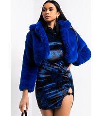 akira warm up crop faux fur jacket