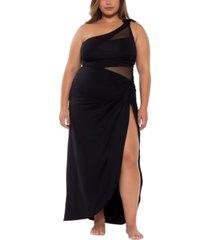 becca etc trendy plus size bond girl convertible skirt cover-up women's swimsuit