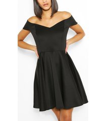 cape detail bandeau skater dress, black