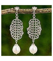 cultured pearl chandelier earrings, 'webbed chandeliers' (thailand)