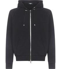 balmain embossed zipped hoodie fleece