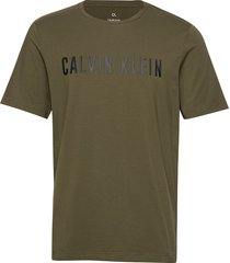 ss tee logo t-shirts short-sleeved grön calvin klein performance