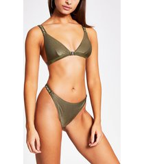 river island womens khaki shell embellish high leg bikini bottoms