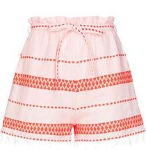 lemlem jemari tie waist striped shorts - orange