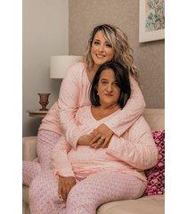 pijama plush domenica poá rosa plus size