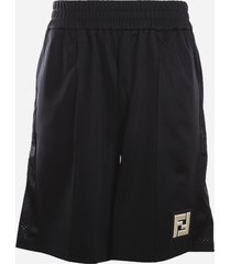 fendi cotton blend bermuda shorts with mesh inserts