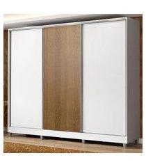 guarda roupa casal 100% mdf madesa zurique 3 portas de correr com pés - branco/branco/rustic branco