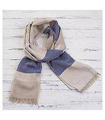 pima cotton scarf, 'afternoon cheer in beige' (peru)