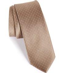 men's the tie bar dot silk tie, size regular - beige