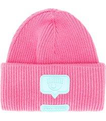 chiara ferragni eyelike merino/cashmere beanie - pink