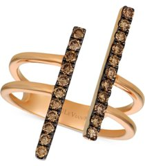 le vian chocolatier chocolate diamond double bar statement ring (1/2 ct. t.w.) in 14k rose gold