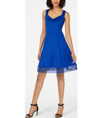 donna ricco lace-trim fit & flare dress