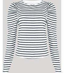 blusa de moletom feminina mindset listrada manga bufante decote redondo branca