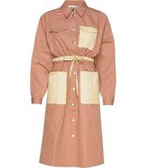 bibi shirt dress knälång klänning orange just female