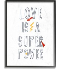"stupell industries love is a superpower cape and mask framed giclee art, 11"" x 14"""