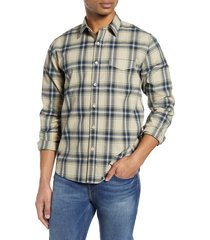 men's frame slim fit plaid button-up shirt