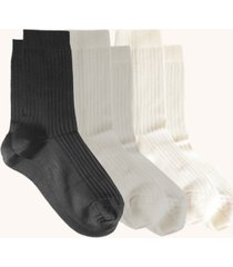 women's comfort silky ribbed crew socks, pack of 3