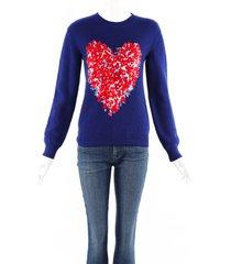 gucci corsage heart blue wool knit crew neck sweater blue/multicolor sz: m