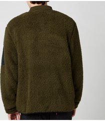 polo ralph lauren men's curly sherpa sweatshirt - company olive - xxl