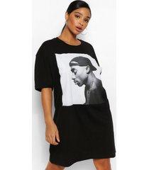 plus gelicenseerde tupac t-shirt jurk, zwart
